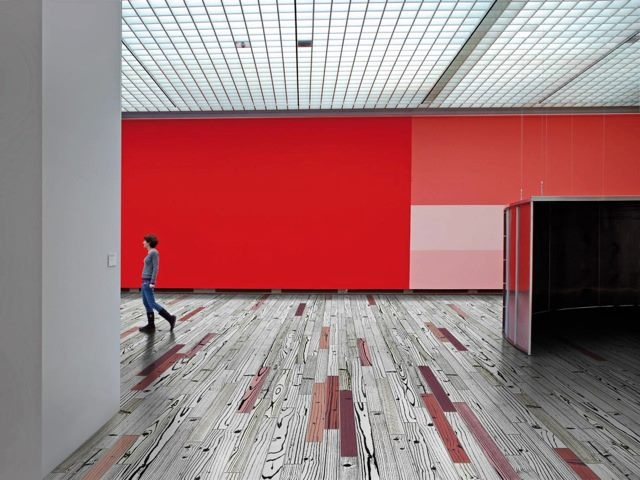 Amazing floor using coloured timber porcelain tiles #signorinotilegallery