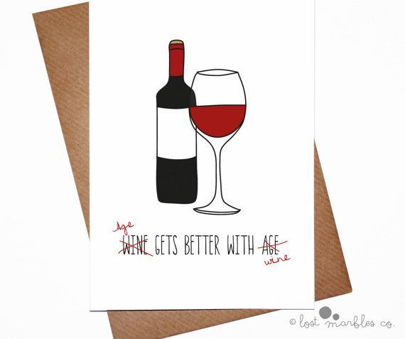 Birthday Card Rude Birthday Card Wino Card Age Gets Better with Wine by Lost Marbles Co