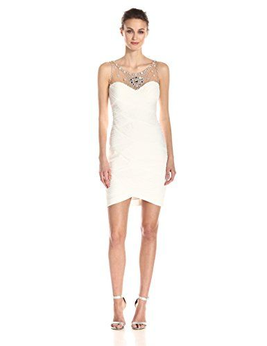 30d2ddd0154 Adrianna Papell Women s Short Shirred Dress with Beaded Yoke