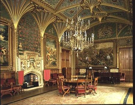 Pugin - Eastnor Castle, Herefordshire: the drawing room, with furniture designed