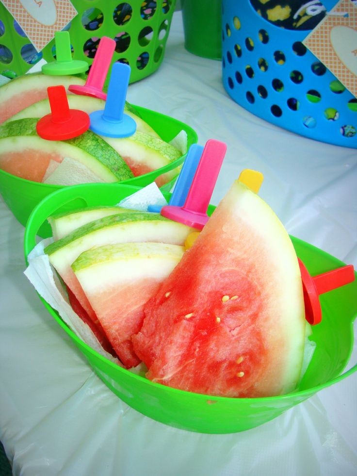 Shark Pool Party Ideas watermelon on a stick summer party pool party kids birthday Watermelon On A Stick Summer Party Pool Party Kids Birthday