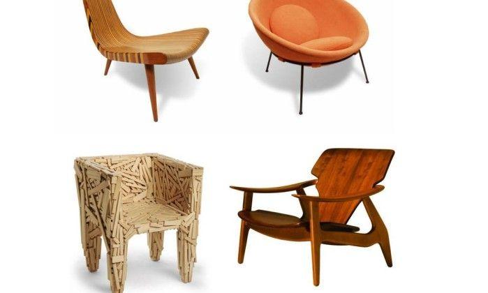 Peças que marcaram a história do design brasileiro: Cadeira de Três Pés (1947), de Joaquim Tenreiro; Poltrona Bowl (1950), de Lina Bo Bardi; cadeira Favela, dos Irmãos Campana (1991); e Poltronda Diz (2001), de Sergio Rodrigues -