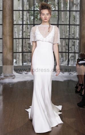 Buttons Sweep Train A-line Empire V-neck Wedding Dresses hocf1013--Hodress