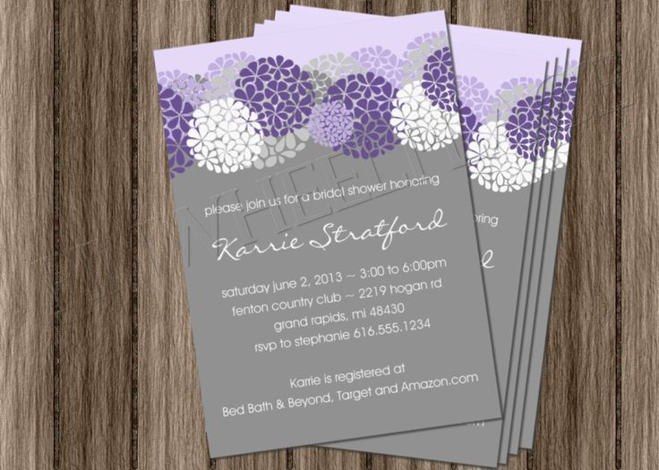 Purple bridal shower invitation DIY printable wedding shower baby shower birthday invite lavender hydrangeas floral. $18.00, via Etsy.