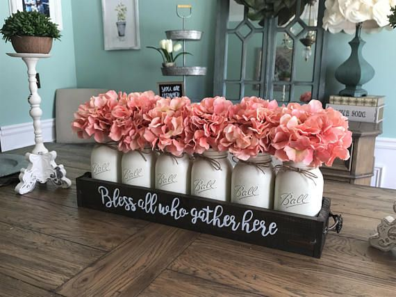 This Mason Jar Centerpiece Is Perfect For Any Dining Room Table Or Mantle I Ca Kitchen Table Centerpiece Dining Room Table Centerpieces Table Centerpieces Diy