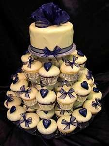 Image Detail for - Navy Blue Hearts Bows on Cup Cakes Wedding Cup Cakes navy blue wedding ...