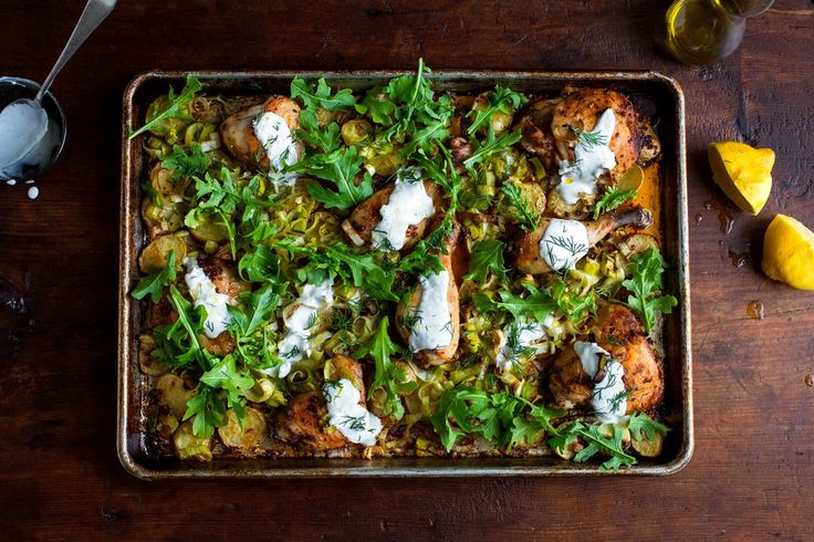 Sheet pan recipes + tips : Chicken, Potatoes, and Arugula with Garlic Yogurt from Melissa Clark at the NYT.