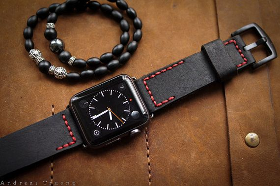 SALE-Handmade Leather Band BF2626 Red Stitching incl. Lugs Adapter for Apple Watch (or Apple Watch Sport/Space Gray) 42mm or 38mm