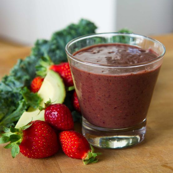 Avocado Super Smoothie with Berries and Spinach by Nadia Lim   NadiaLim.com