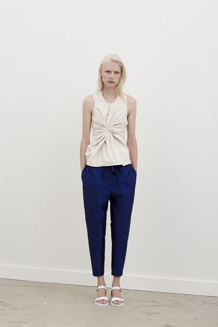 Bender racer top with twisted front peplum worn with Hardin drawstring pants
