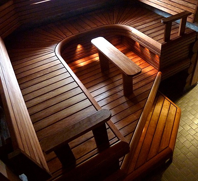 Nice sauna benches