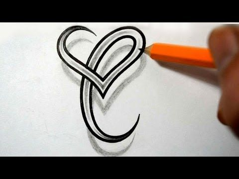 Initial C and Heart Combined Together - Celtic Weave Style - Letter Tattoo Design - YouTube