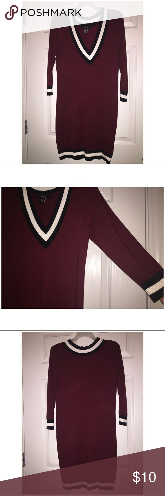 Long Sleeve Sweater Dress Burgundy sweater dress with black/white trimming. Great Condition! Forever 21 Dresses Mini