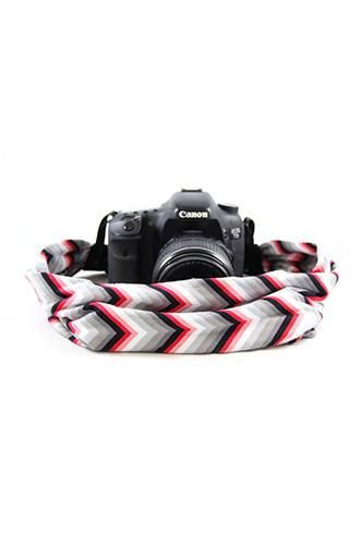 CASCARF-CVRG Red And Grey Chevron Scarf Camera Strap - Capturing Couture - Backdrop Outlet