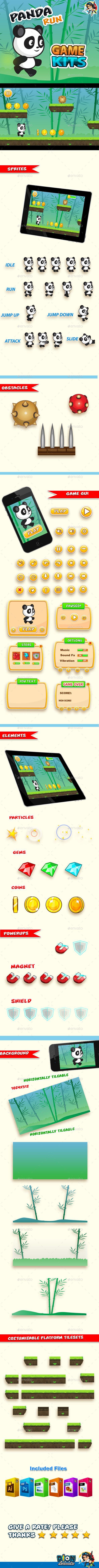 Panda Run  Platformer Game Kit — Photoshop PSD #2d #panda • Available here → https://graphicriver.net/item/panda-run-platformer-game-kit/10556464?ref=pxcr