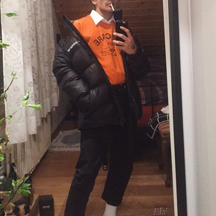 "35 Likes, 5 Comments - (@ohnocheri) on Instagram: ""see you in hell"" streetwear puffer jacket black adidas pants chinos orange tee shirt collar cigarettes dark"