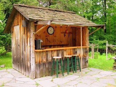 This cabin vacation rental has a little cabin bar!