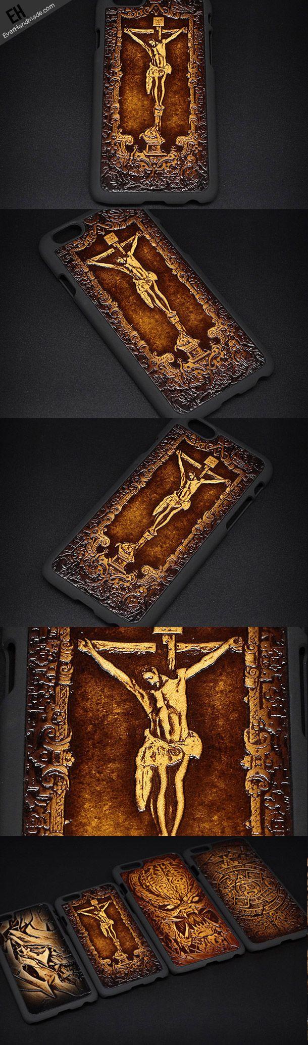 Handmade leather Jesus cross carved leather plastic phone case