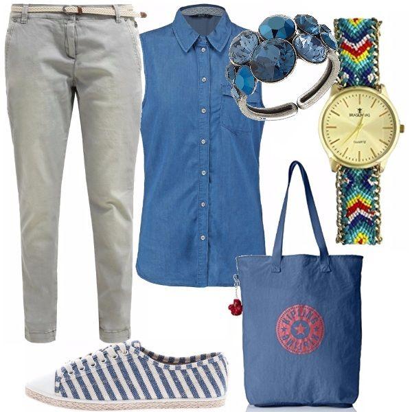 Un look da tutti i giorni, caratterizzato da un jeans chino con cinta già prevista ed una camicia jeans da indossare o dentro al pantalone oppure legata con un fiocco in vita. Ho scelto delle sneakers basse molto sfiziose, una shopping bag blu con stampa rossa e un orologio ed anello sempre sulle tonalità del blu.