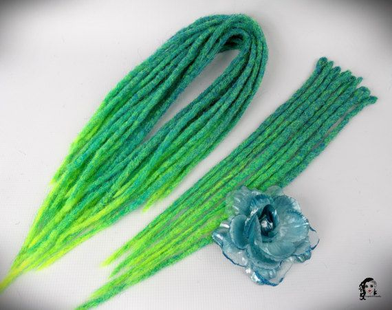 Crochet Synthetic Dreadlocks Tropical Island  Type: Double Ended, Single Ended (optional) Material: Synthetic Hair (100% kanekalon) Method: Crochet, handmade Pieces in set: Select quantity in options auction Lenght DE: 35-40 inch (90-100cm) - 17-20inch (45-50cm) folded in half Lenght SE: 20inch (50cm) Thickness: 0.79-1.18 inch (2-3cm) Color: Turquoise mix, ombre to neon yellow    Synthetic crochet dreadlocks have many advantages:  * Light – does not weigh hair and does not harm them…