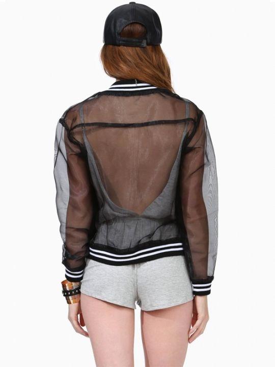 Sexy Zipper Placket Anti UV Long Sleeve Sheer Coats For Women