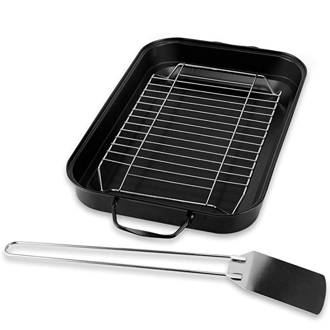 Sougem Roasting Pan With Rack 15 Inch By 10 Inch Stainless Steel