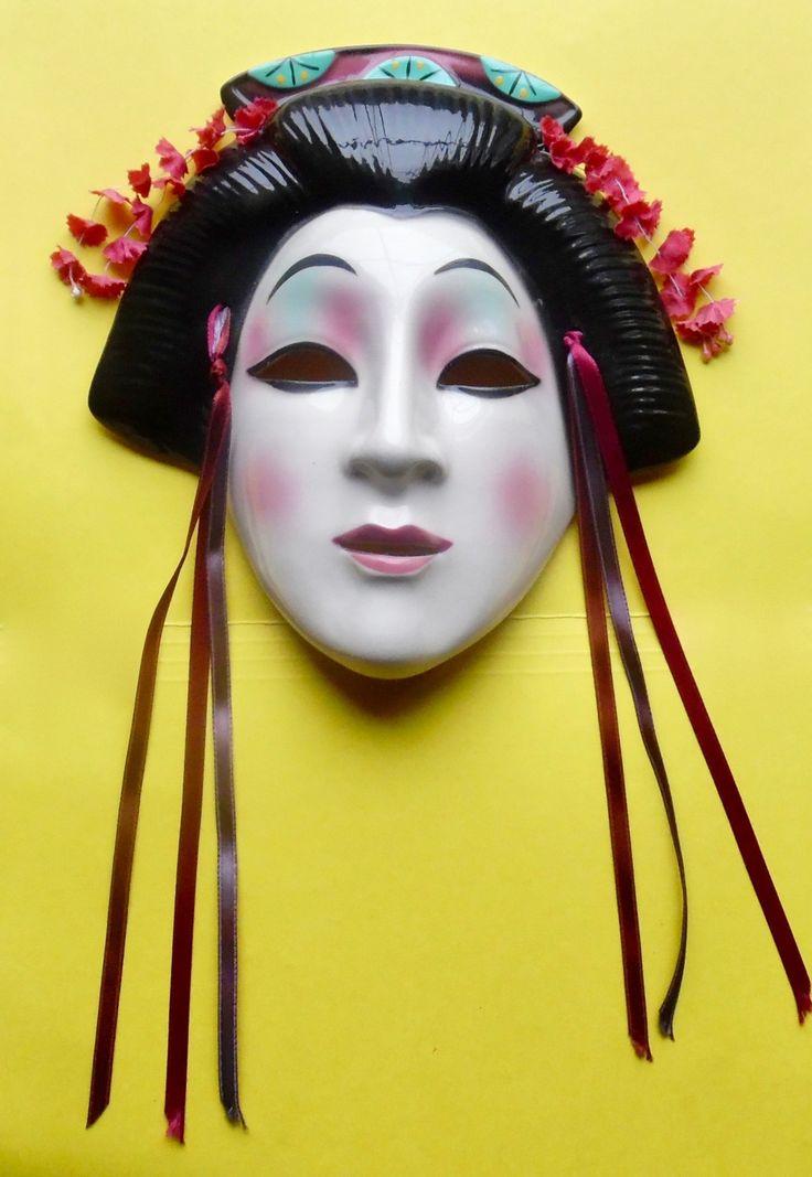 Clay Art Mask Geisha San Francisco 1988 Ceramic Wall
