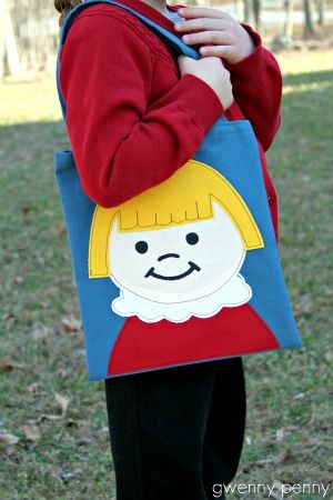 Gwenny Penny: Little People Applique Tote Bag