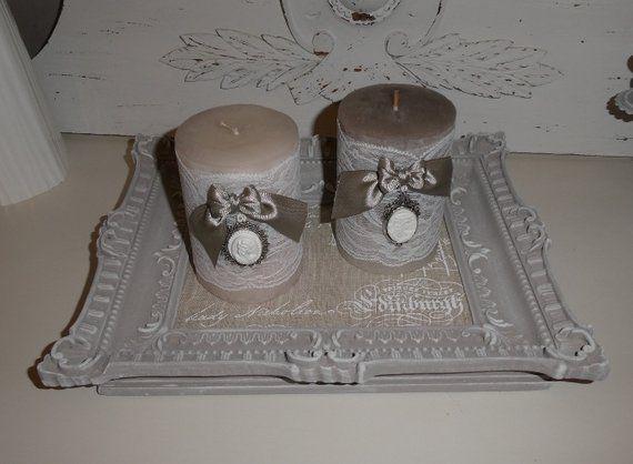 Couronnes Plateau Shabby dessous de verre bougies assiette Vintage Nostalgie Décoration de Table