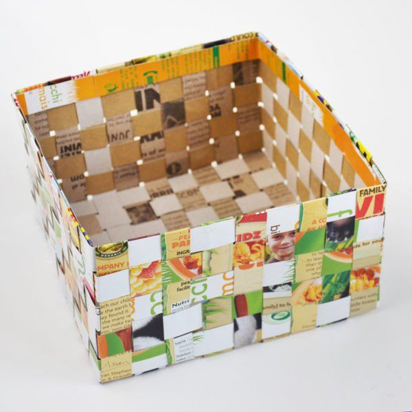 Cereal Box Woven Basket • Recyclart