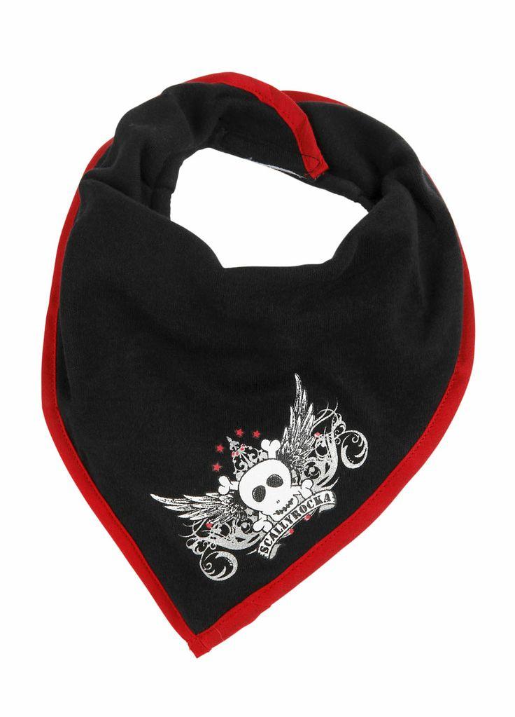 Super cool black skull bandana bib