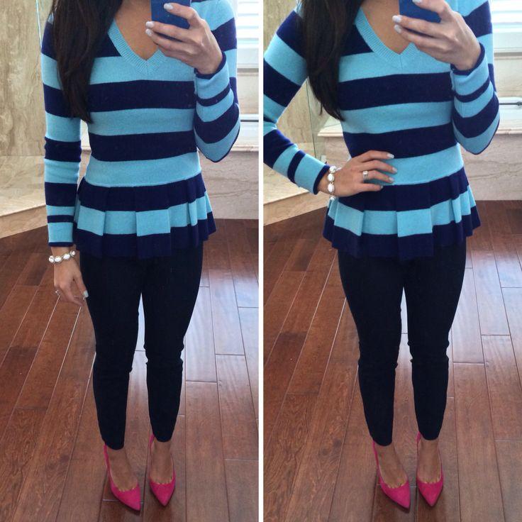 Banana Republic striped peplum sweater and navy Sloan pants
