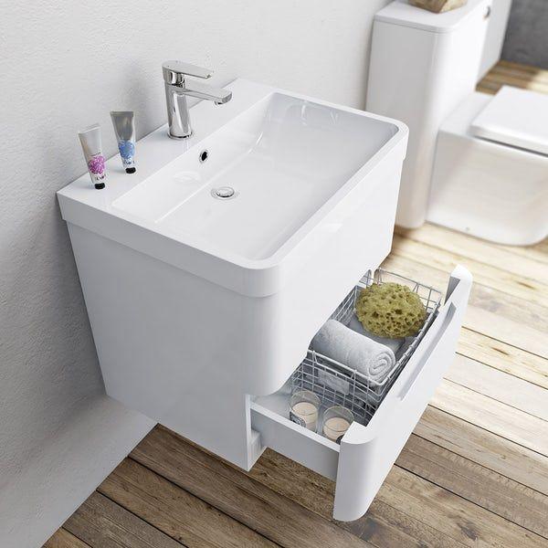 Mode Ellis White Wall Hung Vanity Drawer Unit And Basin 600mm Wall Hung Vanity White Wall Hanging Vanity Drawers