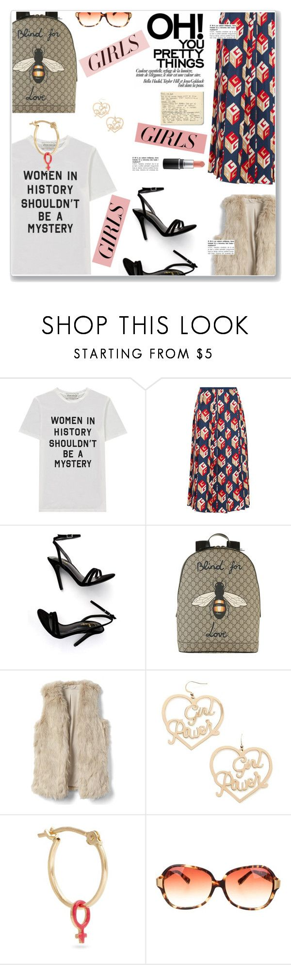 """""""Untitled #1642"""" by sibanesly ❤ liked on Polyvore featuring Être Cécile, Gucci, LULUS, Forever 21, Alison Lou, Oliver Peoples, Moleskine, womensHistoryMonth, pressforprogress and GirlPride"""