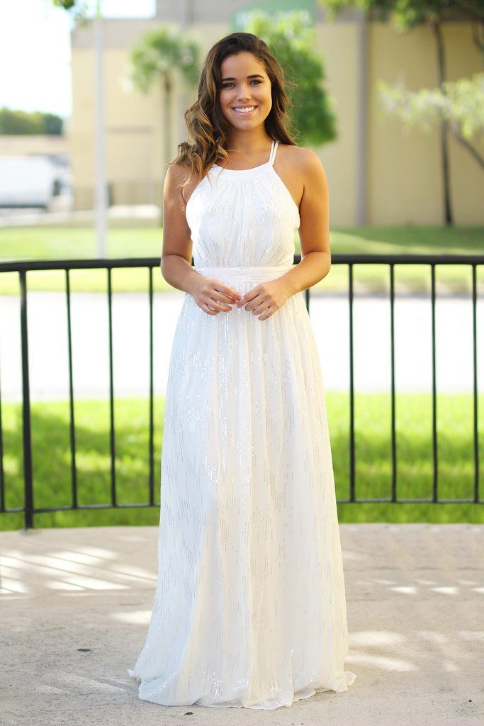 Fancy Off White Maxi Dress with Sequins
