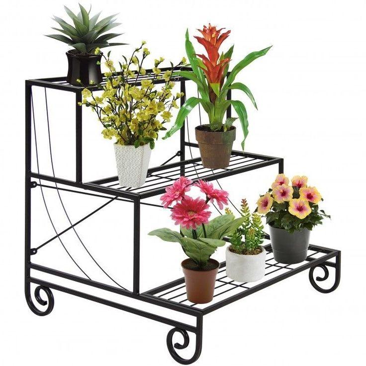 Metal Plant Stand Shelf Rack Gardening Planting Outdoor Lawn Greenhouse  Flower
