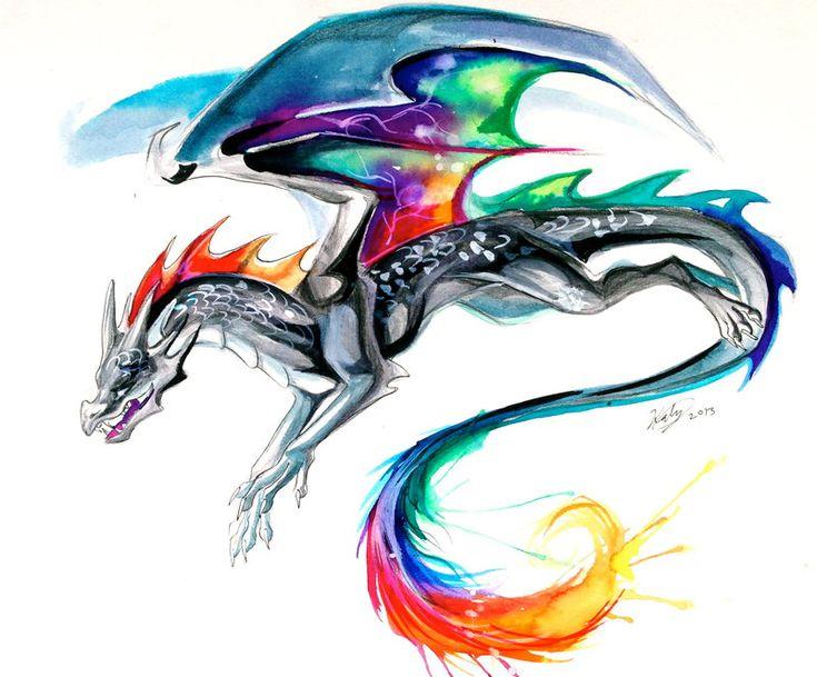 Tie-Dye Dragon Tattoo by Lucky978 on deviantART. love the tie-dye watercolor look!