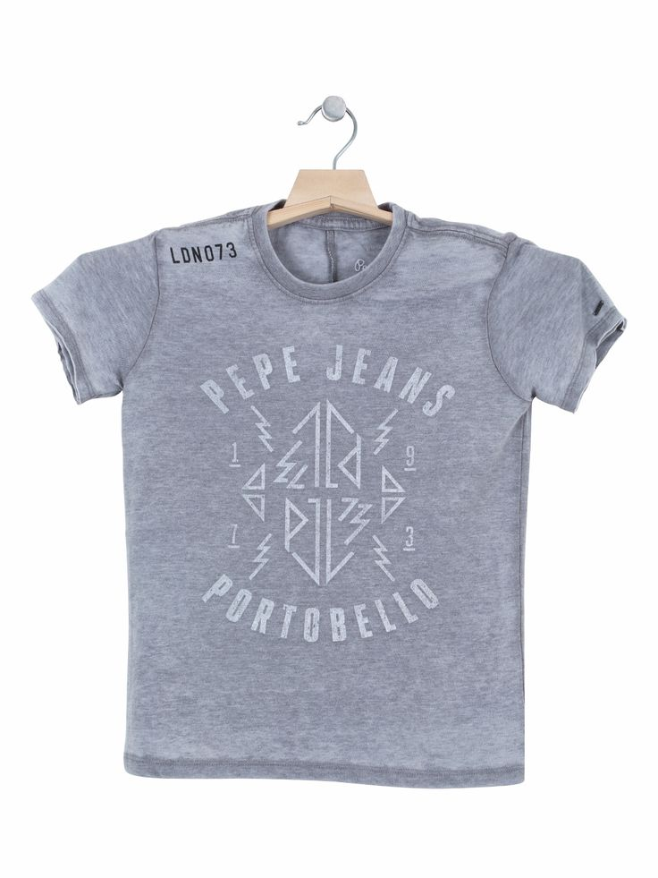 Pepe Jeans Grey Cotton Printed Casual Wear T Shirt