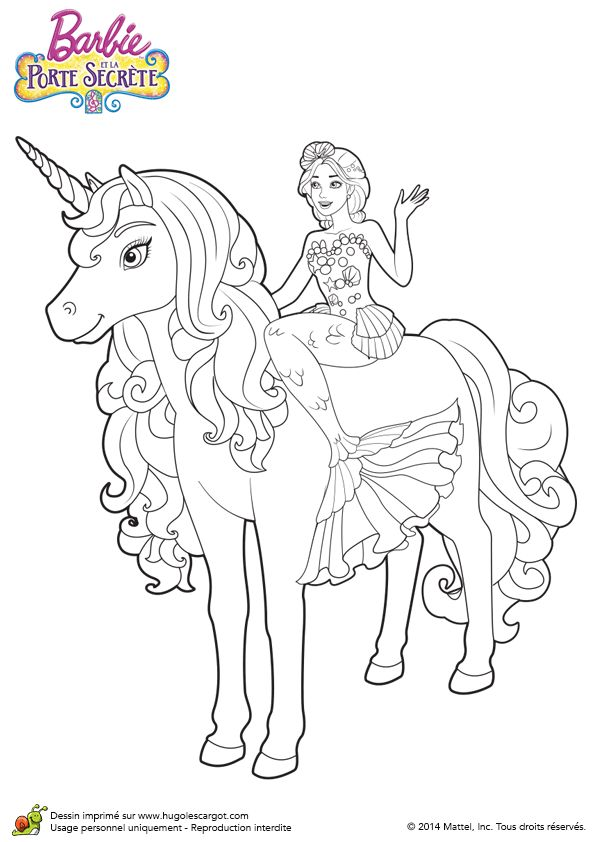 Dessin de barbie la sir ne avec sa licorne colorier coloriages coloriage barbie - Barbie princesse coloriage ...