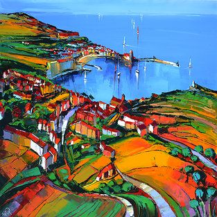 French Art Network | Lepape, Eric - VUE DU FORT COLLOURE - (100 x 100cm) - oil on linen painting.