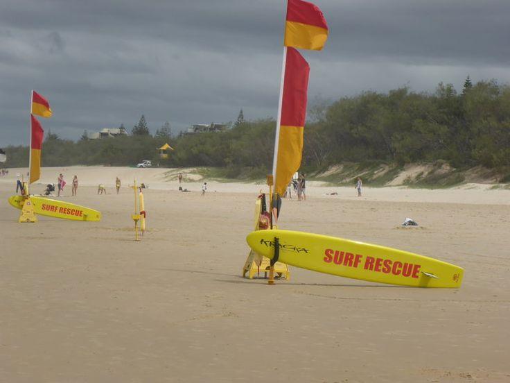 Safety first people! Kurrawa on Australia's Gold Coast.