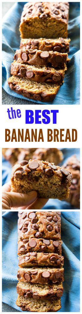 The Best Banana Bread - so moist and topped with chocolate chips. the-girl-who-ate-everything.com