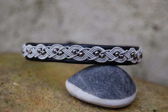 Sami Bracelet - Lapland - Pewter Silver Reindeer leather Hematite beads - Sweden