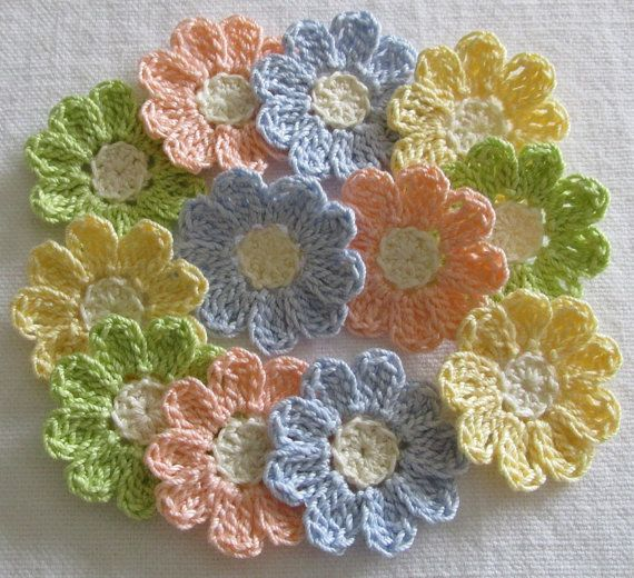 Pastel Crochet Flower Appliques set of 12 handmade craft