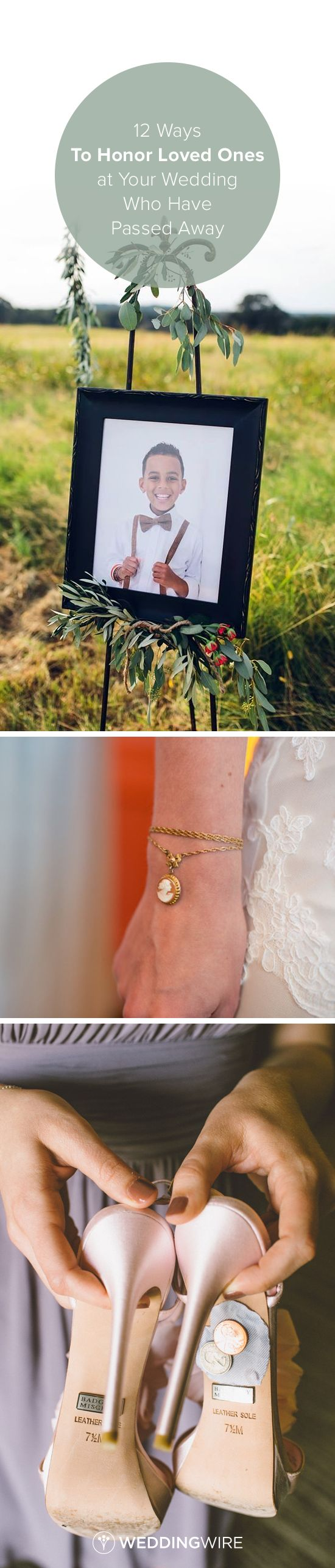 12 Ways to Honor Loved Ones at Your Wedding Who Have Passed Away - Explore different ways to honor your loved ones with jewelry, photographs, cigar bars and more on @weddingwire! {Brandy Angel Photography, Chrissy K Photography, Anna Delores Photography}