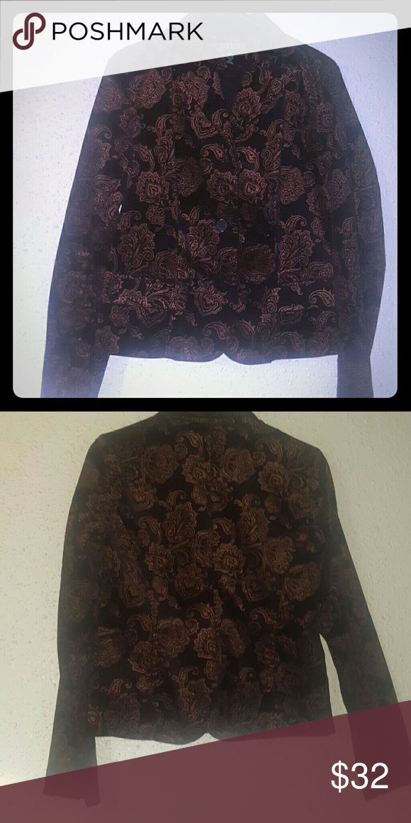 Ralph Lauren Size 6 Black AND Gold Blazer Size 6 In Perfect condition Ralph Lauren Cotton Stretch luxe Blazer with Gold print design. Fits like a glove can wear as a shirt. Ralph Lauren Jackets & Coats Blazers
