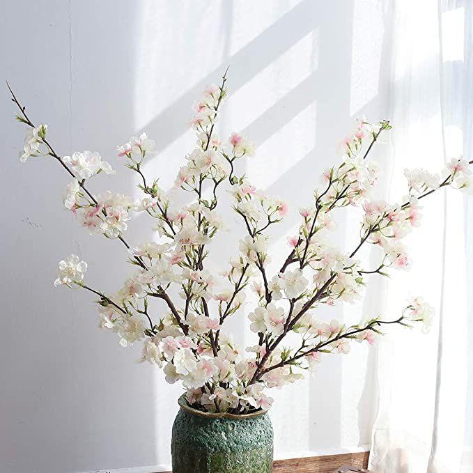Amazon Com Yuyao Cherry Blossom Artificial Flowers 4pcs Silk Cherry Blossom Bra Fake Flower Arrangements Artificial Cherry Blossom Tree Cherry Blossom Flowers