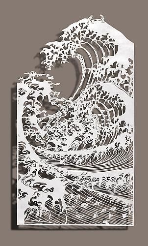 Bovey Lee Sawing Waves, 2012 Cut paper, Chinese xuan (rice) paper on silk 10.5x19 inches