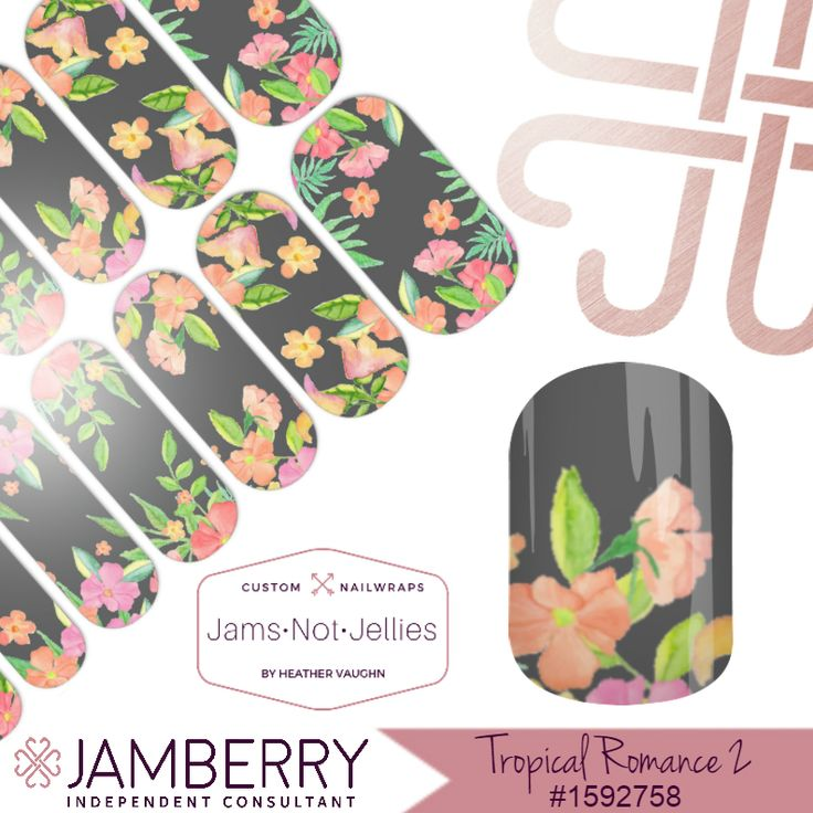Tropical Romance • Jamberry Custom NAS Nail Art Studio Design  • Perfect for a tropical vacation or just daydreaming of one!