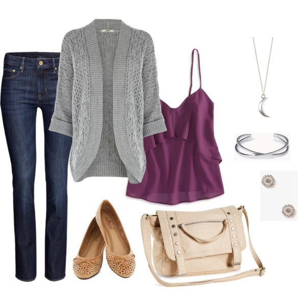 """""""Casual Outfit for Apple Body Shape"""" by ladylikecharm on Polyvore"""